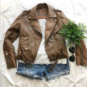 Blank NYC Cognac Camel Leather Moto Biker Jacket